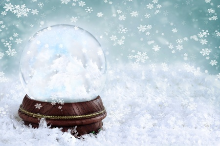 Magical snow globe with clouds and copy space inside. photo
