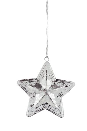 star path: Silver Christmas star ornament isolated on a white background with clipping path included.  Stock Photo