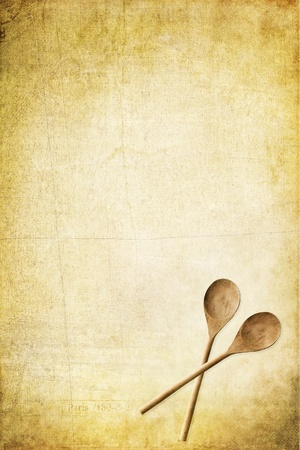 meny: Grunge paper with wooden spoons and available copy space. Perfect for menus or recipes.