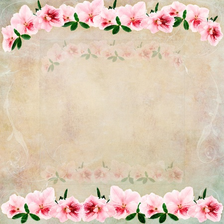 Vintage background with flowers and room for copy space        .  photo