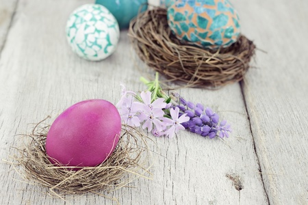 Beautiful Easter egg in a small nest with spring flowers and more eggs in background. Selective focus on egg in foreground.