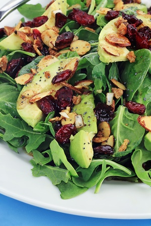 Healthy spinach and arugula salad with cilantro, dried cranberries, spiced almonds and avocados served with a lite vinaigrette.  photo