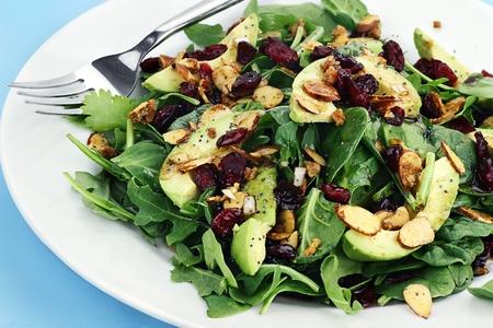 Gezonde spinazie en rucola salade met koriander, gedroogde cranberries, gekruide amandelen en avocado geserveerd met een lite vinaigrette. Stockfoto - 13452420