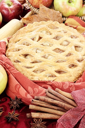 Delicious fresh baked apple pie with ingredients  Perfect for the holidays  photo