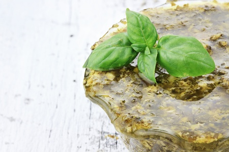 Traditional Pesto Sauce made with basil, olive oil and and Romano cheese. Stock Photo - 14807298
