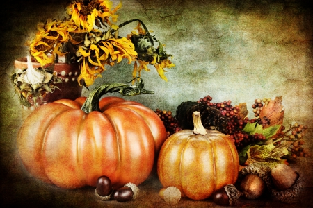 Beautiful autumn still life with copy space available.