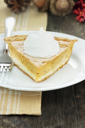 A slice of cream cheese pumpkin pie with whipped cream. Extreme shallow depth of field. Stock Photo - 14807481