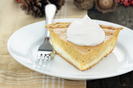 A slice of cream cheese pumpkin pie with whipped cream. Extreme shallow depth of field.