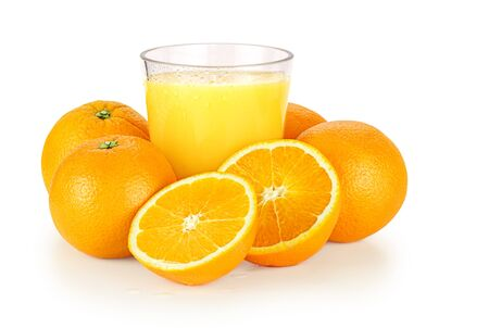 Fresh orange juice and oranges over a white background with shadow. Stock Photo - 16004856