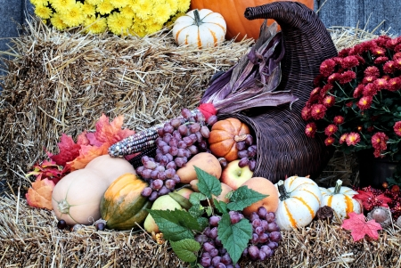 Cornucopia or Horn of Plenty on bales of straw with fresh vegetables and fruit spilling out. Stock Photo