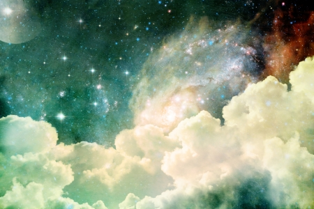 A photobased cloudscape with clouds, stars and moon with distant galaxies.