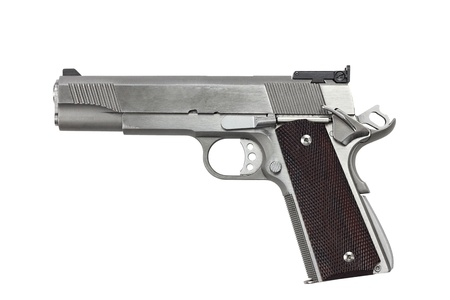 handgun: Forty five calaber handgun isolated on a white background with clipping path included. Stock Photo