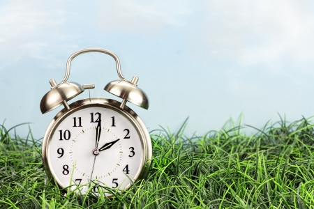 Clock in grass. Daylight saving time concept.