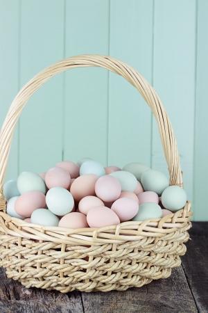 Large basket filled with fresh free range eggs. Stock Photo - 19371061