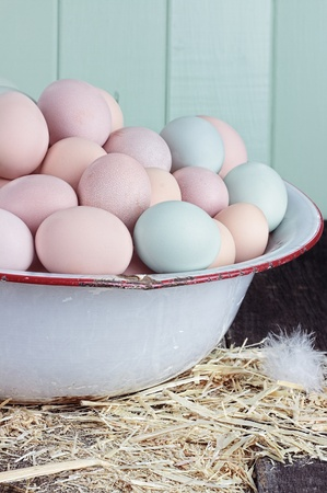 Antique wash pan filled with colorful fresh farm raised eggs against a rustic background. Stock Photo - 19751663