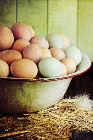 Textured image of an antique wash pan filled with colorful fresh farm raised eggs against a rustic background. Banco de Imagens