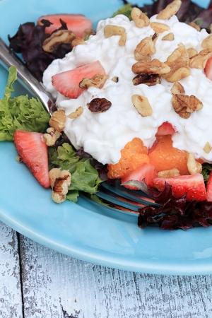 Erdbeer-Quark-Salat mit Mandarinen und Walnüssen. Standard-Bild - 20275507