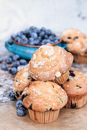 Delicious homemade blueberry muffins with fresh blueberries in the background.