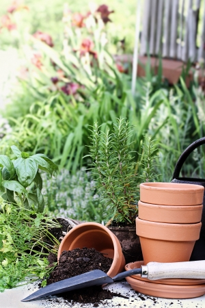 Rustic table with terracotta pots, potting soil, trowel and herbs in front of a beautiful garden surrounding a rustic porch  Imagens