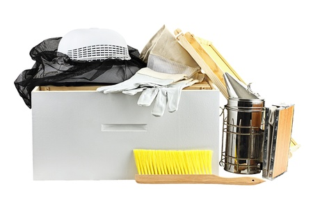 brooder: Beekeeping equipment isolated on a white background with clipping path included. Stock Photo