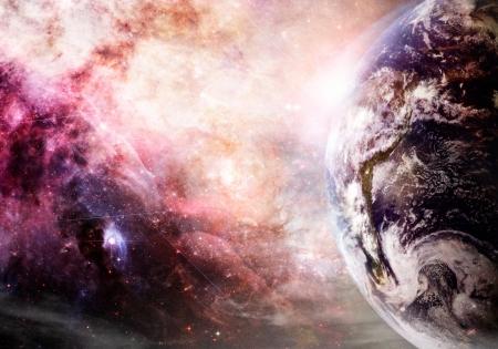 kosmos: Künstlerwiedergabe Erde und Galaxie bei der Erstellung