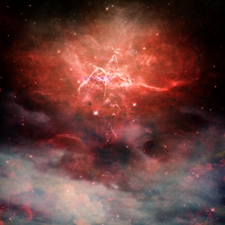 A star field in space with red nebulaes with copy space. Collage created with use from some images from images from www.nasa.gov