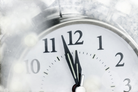 New Year clock moments before midnight.