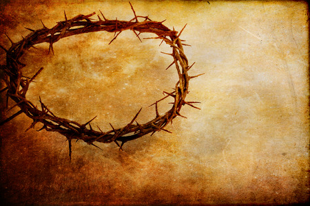 thorn: Crown of thorns over textured background with copy space. Stock Photo