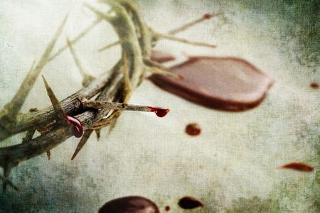 doornenkroon: Kroon van doornen met druppels bloed over grunged achtergrond