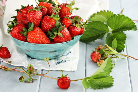 Fresh ripe strawberries in a beautiful blue bowl with selective focus and extreme shallow depth of field  photo