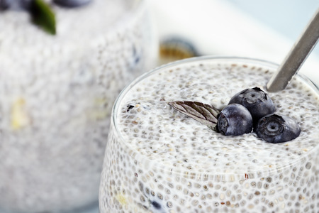 Chia seed pudding made with mangos and blueberries with extreme shallow depth of field.