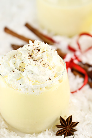 Fresh eggnog with whipped cram and sprinkled with cinnamon. Extreme shallow depth of field with selective focus on whipped cream.
