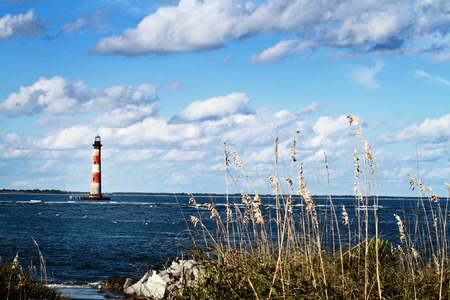 south coast: Lighthouse on a beautiful autumn day.