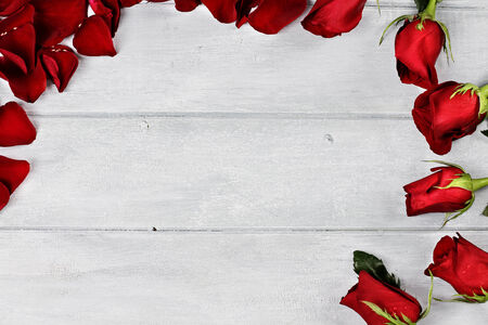 Long stem red roses and petals over a wooden background with room for copyspace. photo