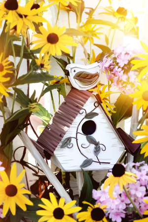 bright eyed: Digital painting of a little bird house with black eyed susans and garden phlox. Stock Photo