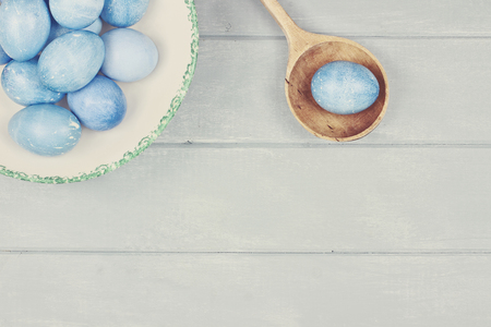 room for copy: Easter eggs colored a natural blue with room for copy space.