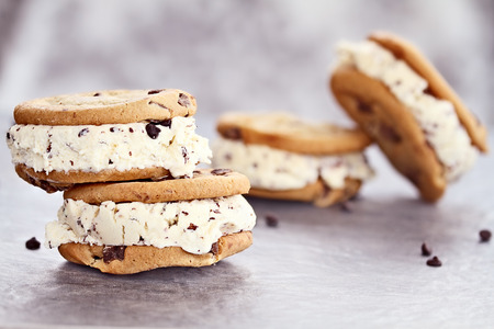 cream color: Chocolate chip ice cream cookies with extreme shallow depth of field. Stock Photo