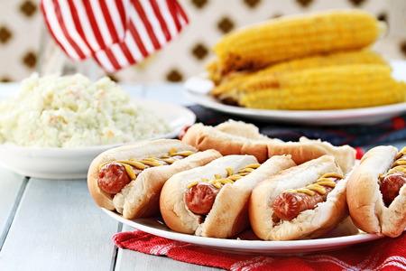 elote: Perritos calientes con mostaza, ensalada de col y maíz en una mazorca en un 4 de julio barbacoa picnic.
