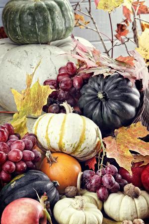 cuernos: Cornucopia o cuerno de la abundancia con muchas verduras y frutas frescas se vierta al exterior.