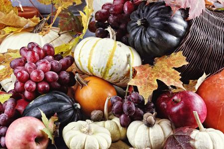 bodegones: Cornucopia o cuerno de la abundancia con muchas verduras y frutas frescas se vierta al exterior.
