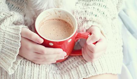 sueter: Manos sosteniendo una vibrante rojo taza de chocolate caliente. Extrema profundidad de campo.