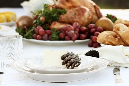 Thanksgiving Holiday table setting with croissants and roast turkey in background. Blank note card placed on plate. Extreme shallow depth of field with selective focus on card. Stock Photo