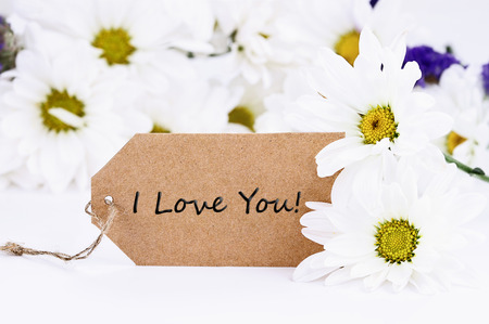 I Love You card and daisies. Extreme shallow depth of field with selective focus on card. Stock Photo