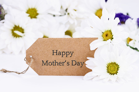 Mothers Day card and daisies. Extreme shallow depth of field with selective focus on card. Stock Photo