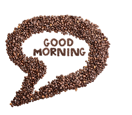 Isolated coffee bean thought bubble with phrase Good Morning over white background. Stock Photo
