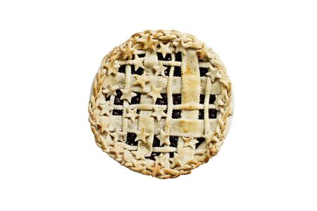 Top view of a blueberry pie with lattice and stars crust isolated over a white background with clipping path inclueded.