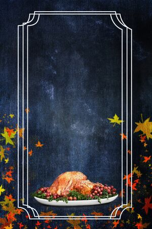 Photo based illustration of a holiday Thanksgiving Day turkey flyer background with room for text.