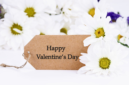 Valentines Day card and daisies. Extreme shallow depth of field with selective focus on card. Stock Photo - 91328051