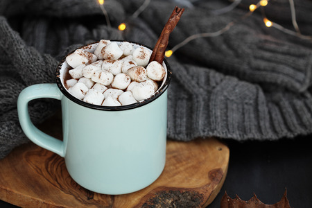 Blue and black enamel cup of hot cocoa with marshmallows and cinnamon bark. Extreme shallow depth of field with focus on drink. Stock Photo