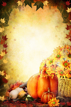 Photo based illustration of a Thanksgiving Day background with a basket of flowers, pumpkins, fruits and vegetables. Free copy space for text.